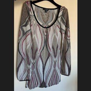 Bebe Multicolor Scoop Neck Long Sleeve Mini Dress